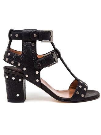 heel studded women sandals leather black shoes