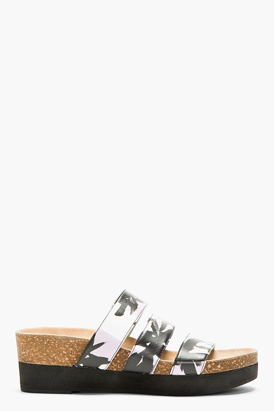 Kenzo purple printed_strap flat sandals