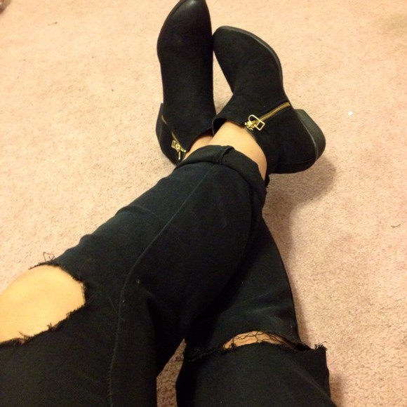 ankle boots boots jeans ripped jeans