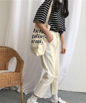 pants,girly,girly wishlist,sweatpants,joggers,stripes,yellow,nude,white