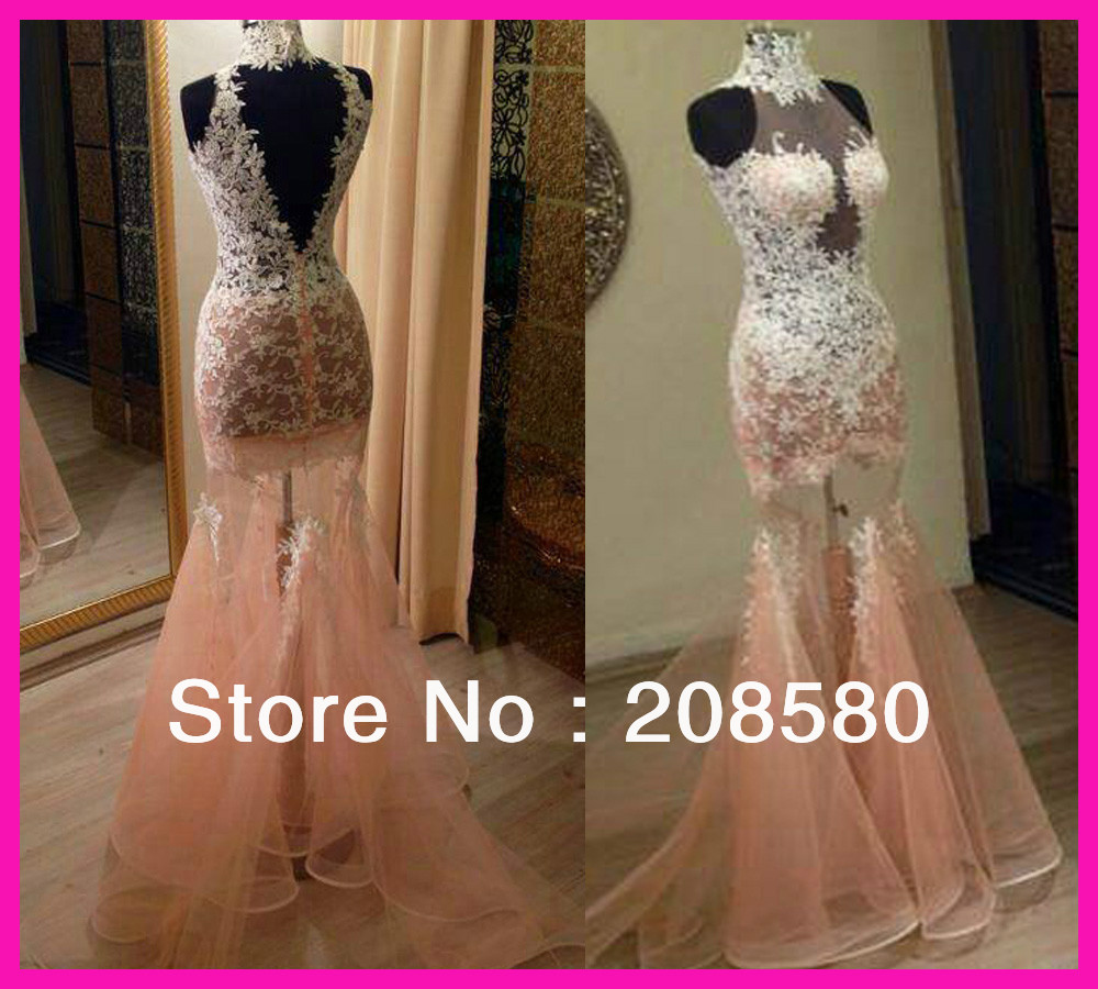 Real Sample Pink High Neck Lace See Through V Back Mermiad Prom Evening Dress Women E5253-in Prom Dresses from Apparel & Accessories on Aliexpress.com