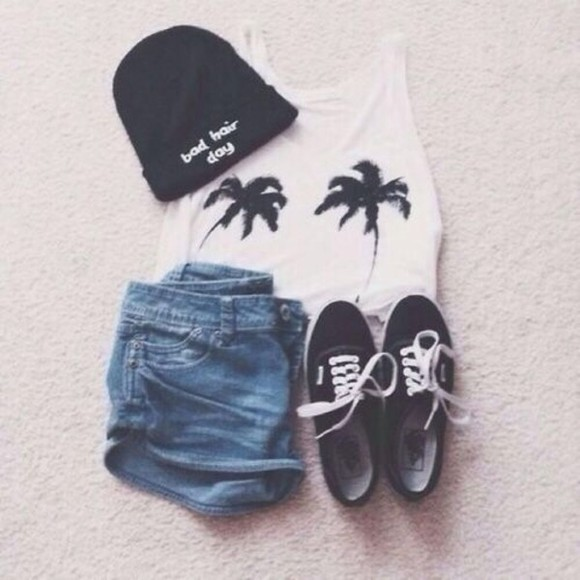 hat shorts shoes 🌴 style tank top palm trees