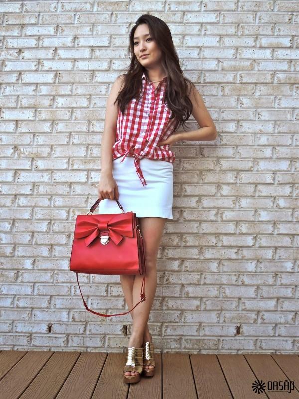 Sweet Square Bowknot Embellished Handbag - OASAP.com