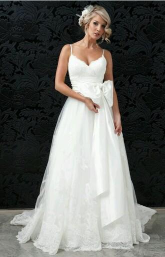 wedding dress lace dress bow dress white dress wedding clothes