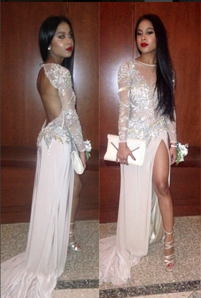 2016 Long Sleeves Thigh High Slit Sequined Backless Sexy Pink Prom