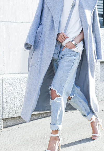 baby blue coat long coat