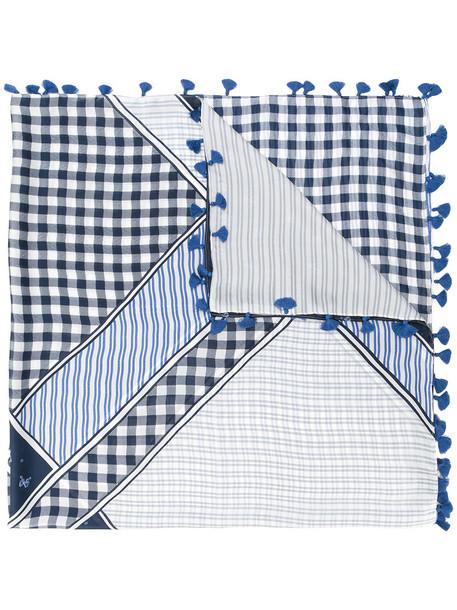 WEEKEND BY MAX MARA tassel women scarf cotton print blue silk