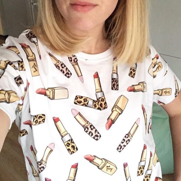 t-shirt yeah bunny t-shirt girly lipstick leopard print