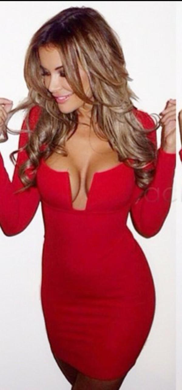 dress red v neck dress deep plunge bodycon dress long sleeves long sleeve bodycon dress