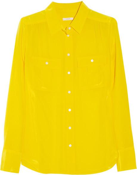 J.crew blythe silk blouse in yellow