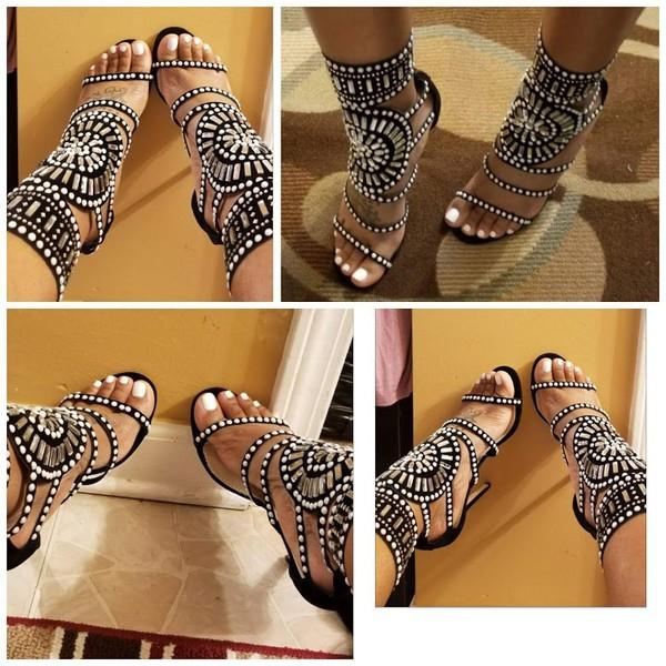 3fcdeec9d57 Cleopatra Embellished Stiletto Heels in Black Faux Suede
