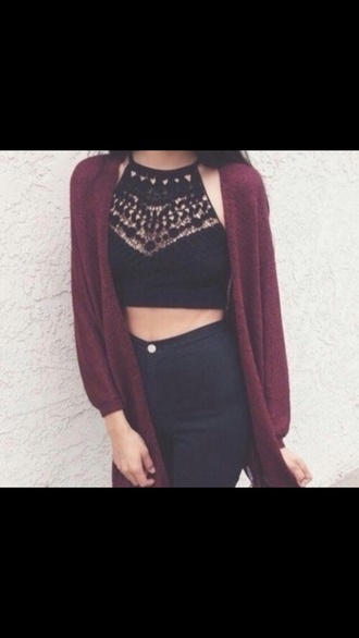 top black crop top lace top crop tops cardigan burgundy sweater dress