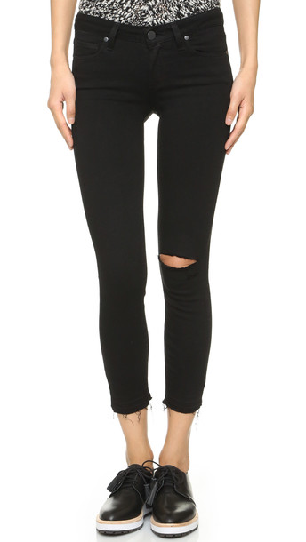 Paige Verdugo Crop Skinny Jeans - Jett Black Destructed