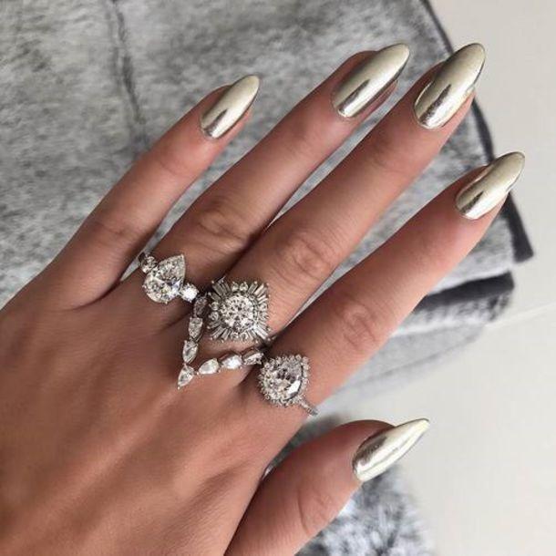 jewels crystal ring diamonds nail polish gold nail