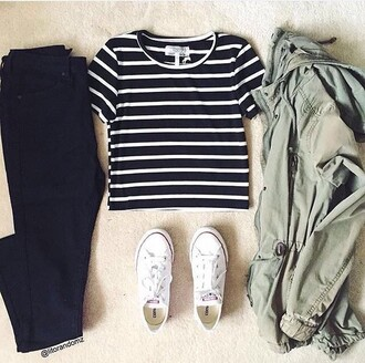 jacket green militar jacket girly ootd blue shirt outfit jeans striped shirt army green jacket converse forever 21