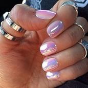 nail polish,cute,rings and tings,red hair,nylons,silk skirt,iridescent,holographic,nails,girly,dope,korean fashion,silver ring,knuckle ring,lilac,metallic nails,metallic,pastel pink,nail accessories,glass nails,glossy,pretty,color?,pink,purple nailpolish,rainbow,reflect,ring,opal,shiny,hipster,nail art,nail tip,silver,olographic,pearl,holographic nail polish,where do i get this polish or foil?,cool nails,opi,fake nails,iridescence nail polish,pink shiny shimmery,shiney,pearlescent,hologram nails,chrome nail polish,chrome