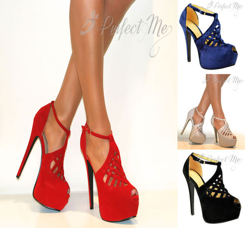 WOMENS CONCEALED PLATFORM PEEP TOE STILETTO STRAPPY HIGH HEELS PARTY SHOES SIZE | Amazing Shoes UK