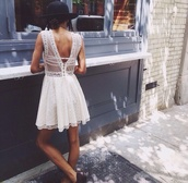 short dress,white dress,lace dress,summer dress,cute dress,vintage,vintage dress,queen,pintrest,sheer,see through,short,crochet,hipster,indie,grunge,summer outfits,formal,lace back,dress,white black dress,hat,lace,white,tumblr,white lace dress,summer,fashion,girly,cute,sexy,spaghetti strap,sleeveless,backless,backless prom dress,backless dress