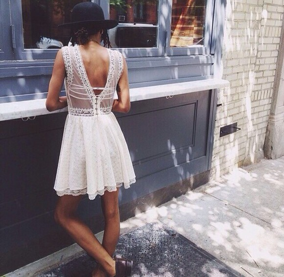 lace dress white dress short dress summer dress cute dress vintage vintage dress queen  pintrest sheer see through short crochet hipster indie grunge summer outfits lace back