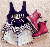 shirt,boots,tank top,shorts,acid washed shorts,shoes,DrMartens,t-shirt,dc martens,fall outfits,black and white,yellow,girl,punk,rock,girly,nirvana,nirvana t-shirt,combat boots,burgundy,grunge,jacket,nirvana sleeveless top