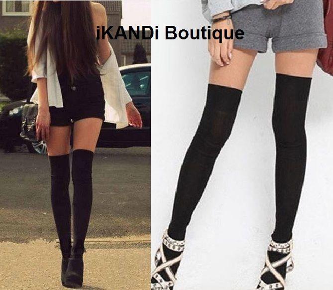 Long over the knee thigh high black ladies girl work school sexy stocking socks