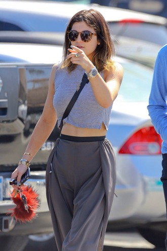 shirt grey cropped kylie jenner cropped shirt pants