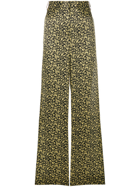 pants palazzo pants women floral cotton black silk