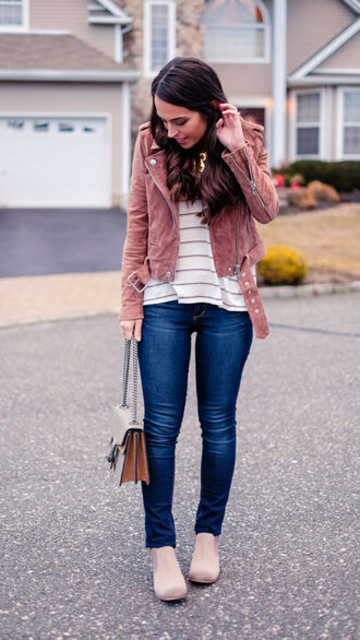 mrscasual blogger jacket t-shirt jeans shoes bag jewels pink jacket ankle boots gucci bag