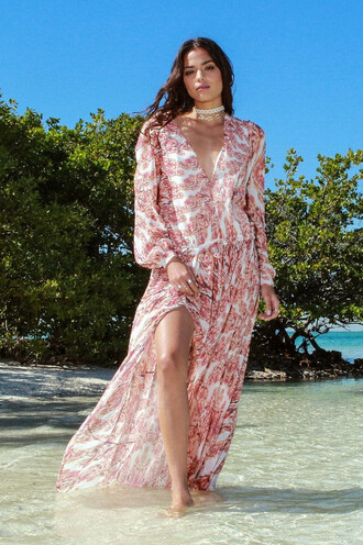 dress pattern summer fashion long sleeves trendy bikiniluxe sexy beach cover up cover up drawstring maxi dress slit sundress v neck