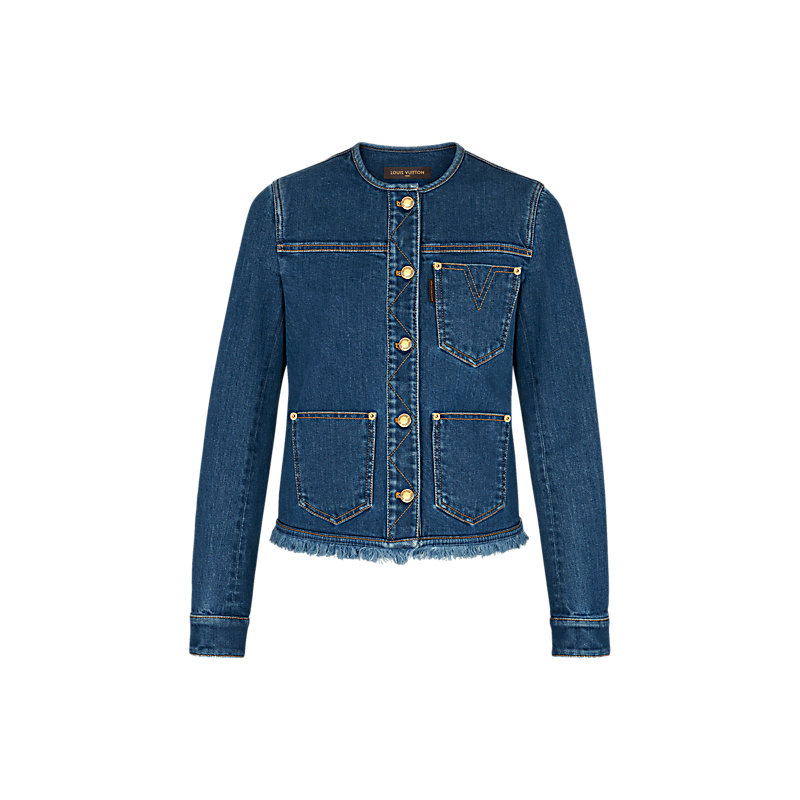 2f8eb0afba3 Products by Louis Vuitton: Stonewashed Denim Jacket With Fringes