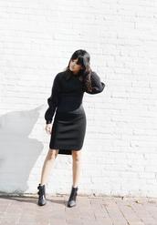 behind seams,blogger,black boots,black skirt,neoprene,black dress