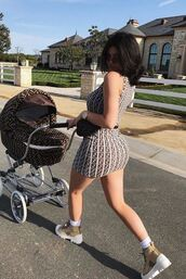 dress,mini dress,kylie jenner,kardashians,instagram,bodycon dress,pattern,shoes,fendi,fendiprint