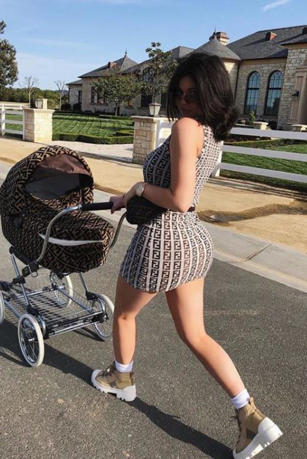 dress mini dress kylie jenner kardashians instagram bodycon dress pattern shoes fendi fendiprint