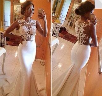 dress white lace sheer mermaid long prom wedding no sleeve