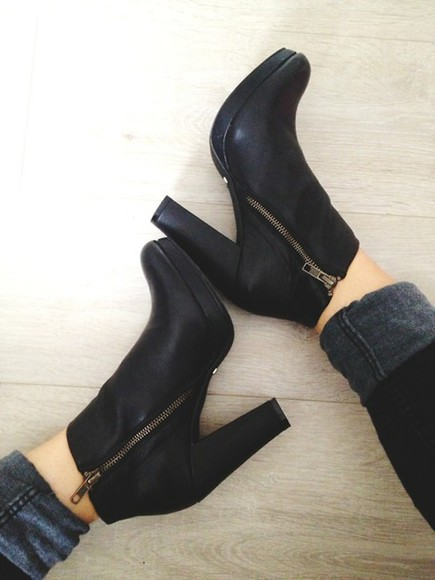 zip shoes boots ankle boots black