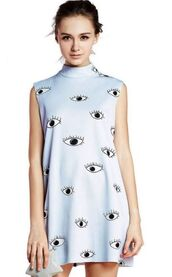 light blue dress,sleeveless dress,eye print dress,eye graphics,banded collar dress,high neck dress,full back zipper,back zip dress,www.ustrendy.com