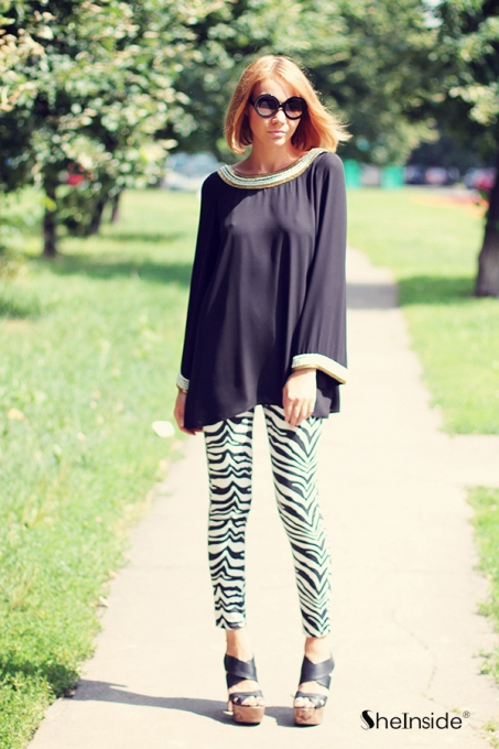 Black and White Zebra Print Denim Pants - Sheinside.com