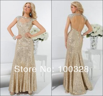 2014 New Design Sexy Evening Dress Floor Length Trumpet Sequined Scoop Sweep Train Cap Sleeve Open Back Brilliant Prom Dress-in Evening Dresses from Apparel & Accessories on Aliexpress.com