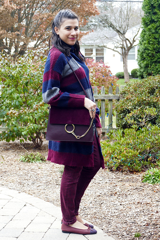 closetfashionista blogger cardigan jeans bag fall outfits shoulder bag ballet flats burgundy burgundy pants