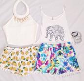 t-shirt,elephant print,elephant print tank tee,pom pom shorts,floral,shorts,cute,beach,pineapple shorts,pineapple print,pineapple,skirt