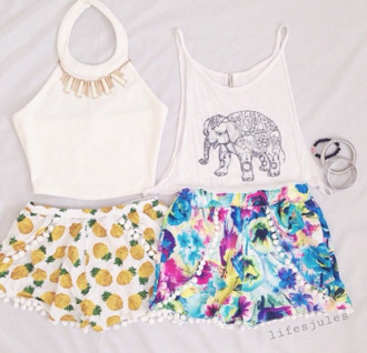 t-shirt elephant print elephant pom pom shorts floral shorts cute beach pineapple shorts pineapple print