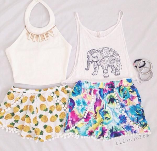 t-shirt elephant print elephant print tank tee pom pom shorts floral shorts cute beach pineapple shorts pineapple print pineapple skirt