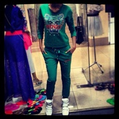 jumpsuit,green,tiger,kenzo,tracksuit,sweatshirt,sweatpants