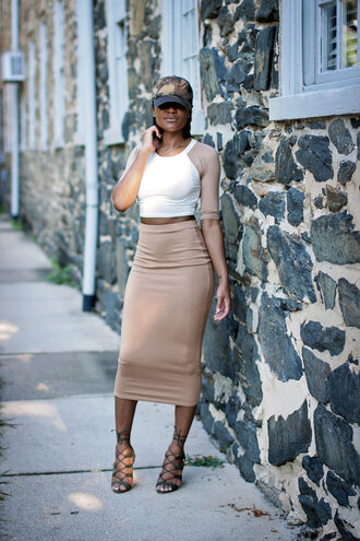 where fashion gets easy. - the daileigh blogger shoes beige skirt white top long sleeves lace up nude skirt black heels