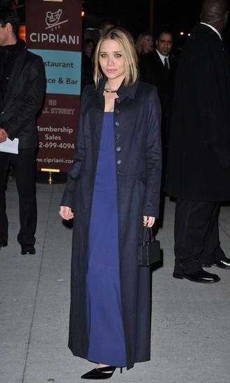 make-up ashley olsen blue dress long coat