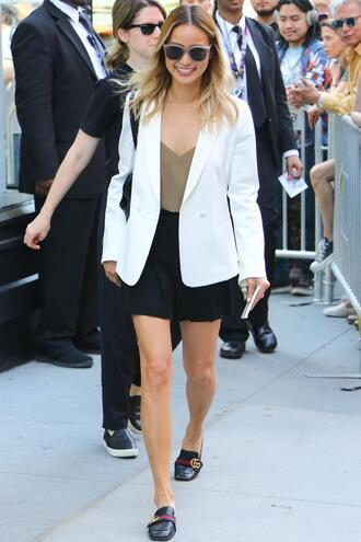 top blazer spring outfits streetstyle flats jamie chung blogger mini skirt jacket