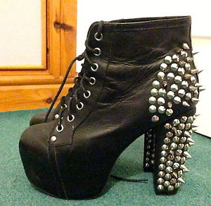 Jeffery Campbell LITA black leather platform shoes ankle boots stud spike 39 6 | eBay