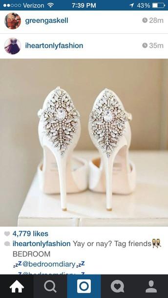 shoes white rhinestone heels