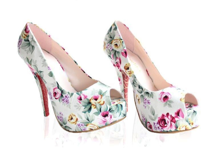 Floral platforms in white ii from luna viintage on storenvy