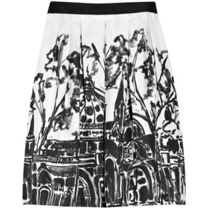 Milly printed silk skirt